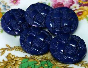 Vintage set of lovely Blue glass buttons with basket weave design 20mm