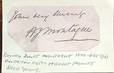 HENRY JAMES MONTAGUE  1844 - 1878 AUTOGRAPH FAMOUS AMERICAN ACTOR (DIED AT 34)
