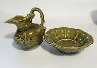 MCM Green McCoy Marked USA Pottery Water Pitcher with Wash Bowl Basin Glazed