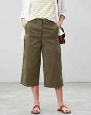 Joules Womens Compton Wide Leg Cropped Chinos - GRAPE LEAF Size 12