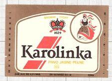 POLAND Browar Tychy Karolinka woman beer label C1576