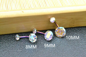 50pcs Rainbow CZ Navel Ring Belly Bars Button BarBells Body Piercing Jewelry 14G