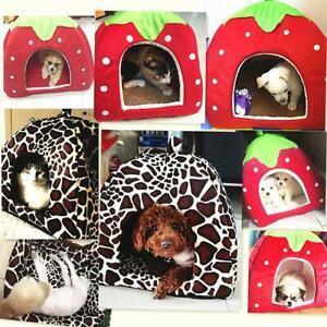 Soft Strawberry Pet  Dog Cat House Kennel Doggy Fashion Cushion Basket