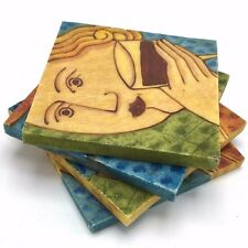 Set 4 Coasters Resin Abstract Drinks Beer Wine Martini Champagne She Man Cave