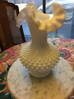 Vintage Fenton Hobnail Ruffle Vase Perfect