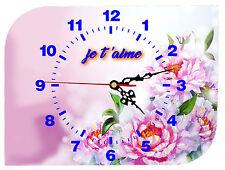 horloge pendule murale je t'aime personnalisable texte prénom au choix réf F 52