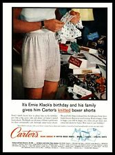 1959 Carter's Knitted Boxer Shorts Man In Underwear Reads Birthday Card Print Ad