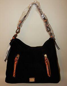 New Dooney & Bourke Suede Cooper Hobo Bag Black