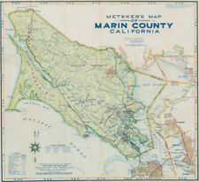 Detailed 1948 map of Marin County in attractive colors.
