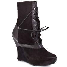 New Bacio61 Women's Natura black leather wedge  Boots sz 8  (Msr $220)