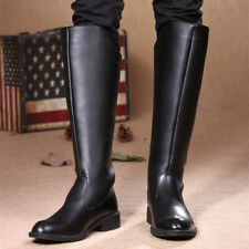 New Mens Leather Military Boots Knee High Equestrian Fashion Riding Casual Shoes