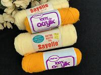Vintage Malina & Sayelle Yarn Gold Baby Yellow (4) Skeins 100% Acrylic