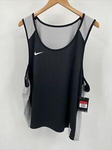 Nike Men's Large Stock Elite Reversible Lacrosse Tank Top Black Light Gray NEW