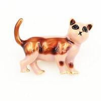 Women's Enamel Crystal Cute Cat Kitten Charm Betsey Johnson Animal Brooch Pin