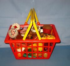 Lot of 60 Childs Pretend Realistic Play Food Fake Prop Stage & Shopping Basket