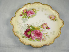 Antique Limoges CORONET Porcelain Scalloped ROSES Plate