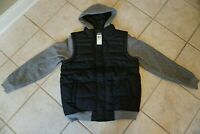 NWT MEN'S ZOO YORK HOODED JACKET Multiple Sizes Mega Quilted Layered Black Grey