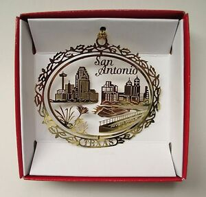 San Antonio Ornament River Walk Brass Texas Travel Souvenir