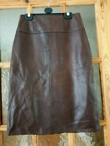 """LAKELAND Brown Soft Real Leather Pencil Skirt Size:8 - Waist:24"""""""