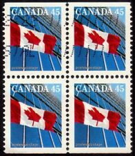 CANADA 1987-91 45c flag Block4 - USED-bottom left stamp has corner crease @E2632