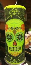 DAY OF THE DEAD SUGAR SKULL Hand Decorated On Apple Green PILLAR Candle 18x7cm