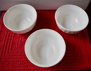 THREE Gibson White Elements Paloma Embossed 4 1/2 inch round bowls NEW