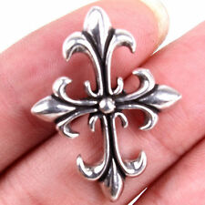 Fashion Carved Cross Flower Tibetan 925 Sterling Silver Charms Pendant M1390