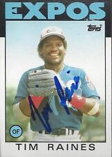 Tim Raines Montreal Expos 1986 Topps Signed Card
