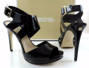 Women's Shoes Michael Kors Claudia Strappy High Heel Sandals Black Patent Size 9