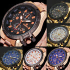 Luxury Mens Dial Gold Stainless Steel Date Quartz Analog Sport Wrist Watch 47h