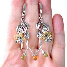 E750 Boucles d'oreilles Créateur Argent Massif 925 Fleurs Saphirs Multicolores