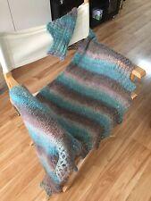 handknit 80% merino wool  blend scarf/stole/wrap in blue tone