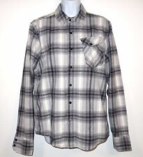 Fox Racing Gray White Black Plaid Button Front Flannel Shirt Women's Medium