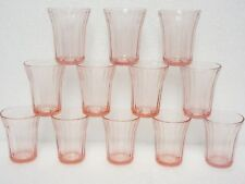 12 Matching Pink Cherry Blossom 4 Ounce Flat Juice Glasses / Jeannette Glass Co