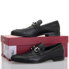 Salvatore Ferragamo Monaco Black Leather Gancio Bit Loafers - Mens Size 7.5 EE