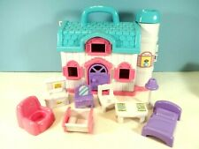"""9 by 8 by 4"""" Blue Box Doll House with Furniture"""