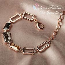 18K Rose Gold Filled Made With Swarovski Crystal Luxury Rectangle Cut Bracelet