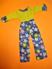 Vtg Barbie 80s doll Clothes Yellow Floral Jumpsuit No Label