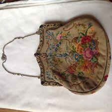 Antique Needlepoint Evening Bag With Semi Precious Stones