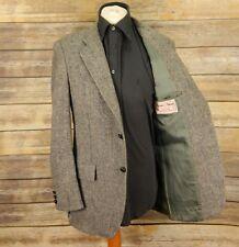 Mens Harris Tweed 40L grey herringbone jacket blazer wool single breast 12n39