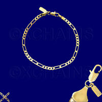 "NEW 24K HEAVY GOLD PLATED 3mm FIGARO 7"" CHAIN BRACELET F3A"