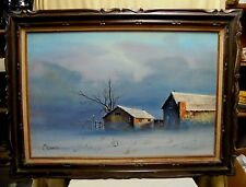 """HUGE 1970's Signed Brauer Winter Country Farm Landscape Oil Painting 44"""" x 32"""""""