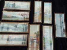 9 ancien tableaux en pastel sous verre 1920,usine,vintage,garage