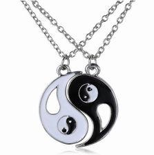 2pcs Fashion New Ying and Yang Yin BEST FRIENDS Rhinestones Necklace Pendant