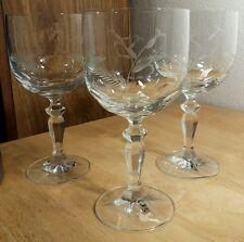 3 Elegant Floral & Wheat Cut Thumbprint Goblet Glasses EXC! Unknown Maker