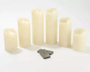 Luminara Set of 6 Assorted Pillars w/Gift Boxes & Remotes Ivory,