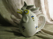 Vintage Ceramic Hand Painted Crazy Looking Rooster Pitcher
