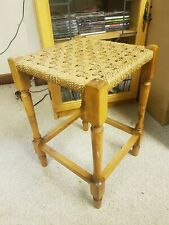 Vintage Retro Woven Small Foot Stool / Stool Rope String Wooden