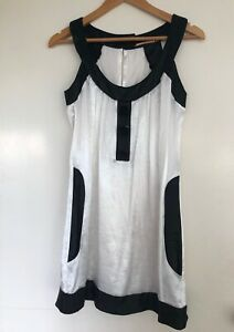 Cooper St 6 black white silky pocket mini dress races suit 6-8