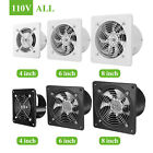 """4/6/8"""" Exhaust Fan Ventilation Extractor Fan 110V Wall-Mounted Square Blower US"""